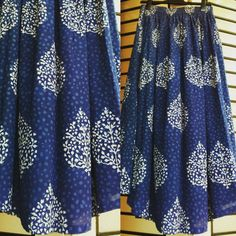 flaired indigo printed cotton mul skirt  by tadka