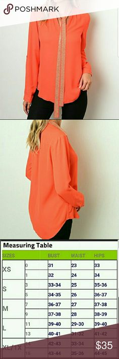 Orange blouse with tie Brand new, long sleeve orange blouse with a studded tie around the kneck that can be removed. Chupchick Tops Blouses