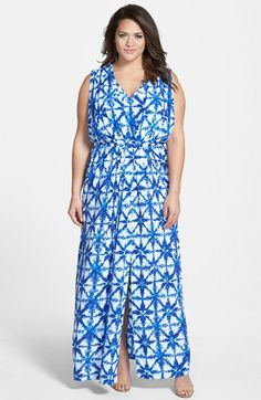 MICHAEL Michael Kors 'Glazed Tile' Pleated Maxi Dress (Plus Size) available at #Nordstrom