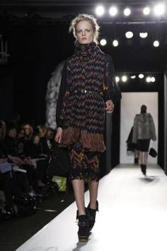 That's a really good idea - belt down a big scarf --Mulberry Fall Winter Ready To Wear 2012 London