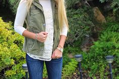 Anthropologie lace top and vest. Salty Blondes fashion blog