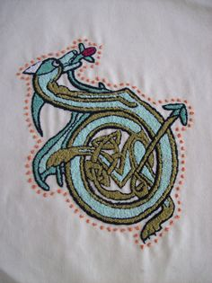 Celtic Dragon French Knot Embroidery Pattern by DonnaHuntriss, $16.65