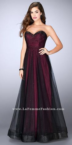 Strapless Sweetheart A-Line Embellished Tulle Prom Gown by La Femme