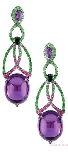 Amethyst Drop Earrings Rodney Rayner FAMILY JEWELS Amethysts, Drop Earrings