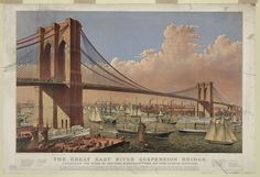 #currier&ives #lithograph #ships #newyork #suspensionbridge #eastriver
