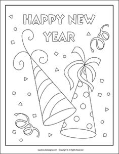 party hats coloring page, new years eve coloring pages,new years coloring sheets, new years coloring pages, new years activities for kids