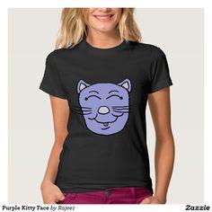 Purple Kitty Face T Shirts