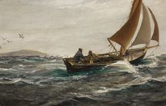 """femme-de-lettres: """" Large (Wikimedia) Charles Napier Hemy painted With Wind and Tide: Off the Dodman-Head, Falmouth in According to Bonhams, """"The Hemy family set sail for Australia when he was. Edinburgh, Charles Napier, Family Set, Art Store, Counted Cross Stitch Patterns, Sailboat, Sailing Ships, Nature Photography, History"""