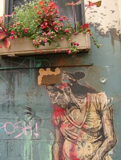 East Village street art and window box