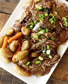 Instant Pot Roast with potatoes and carrots is the perfect Sunday dinner. This Instant Pot version is as tender as a traditional recipe but less than half the time! Pot Roast Recipes, Beef Recipes, Cooking Recipes, Healthy Recipes, Recipies, Bariatric Recipes, Sausage Recipes, Copycat Recipes, Easy Recipes