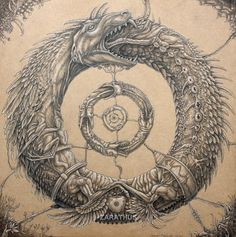 """Carl Jung interpreted the Ouroboros as having an archetypal significance to the human psyche.  The Jungian psychologist Erich Neumann writes of it as a representation of the pre-ego """"dawn state"""", depicting the undifferentiated infancy experience of both mankind and the individual child.[3]"""