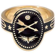 Foundrae Cross Arrows Cigar Band Ring - Black Champlevé Enamel ($2,850) ❤ liked on Polyvore featuring jewelry, rings, handcrafted jewelry, 18 karat gold ring, handcrafted jewellery, crucifix jewelry and enamel jewelry