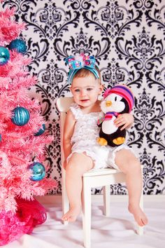Over the top Christmas Hair bow penguins ribbon by paola00mx, $12.00