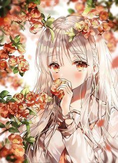 Anime with a charming flower background Cool Anime Girl, Pretty Anime Girl, Girls Anime, Cute Anime Pics, Beautiful Anime Girl, Anime Art Girl, Manga Girl, Manga Pokémon, Manga Kawaii