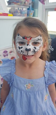 Dalmation puppy face paint, facepainting with bling gems Puppy Face Paint, Festival Looks, Sparkle, Gems, Bling, Festival Style, Jewel, Gemstones, Glow
