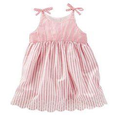 2-Piece Striped Scalloped Dress