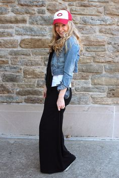 Maternity maxi skirt + jean jacket + baseball cap = my style via Laughing Latte