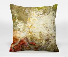 Toss pillow cover with abstract art, 16x16 to 20x20 in fall colors, hidden zipper, decorative pillow cover, Chrysanthemum