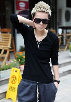 Black Cotton Long Sleeve V Neck Top @M002b