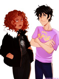 Hazel and Nico with swapped clothes/personalities