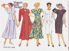 80s Vogue Basic Design Pattern 1715 Womens Dropped by CloesCloset, $11.00
