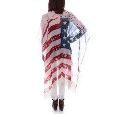 Fringe American Flag Kimono