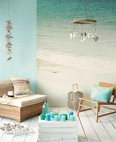 sea wall mural and coffee table made of old wooden crate