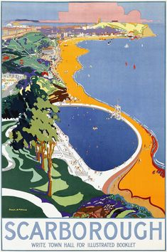 YORKSHIRE Details about Scarborough 1930 vintage travel poster reprint . Posters Uk, Railway Posters, Art Deco Posters, Vintage Travel Posters, Poster Prints, Vintage Ski, Art Deco Print, British Seaside, Vintage Hawaii