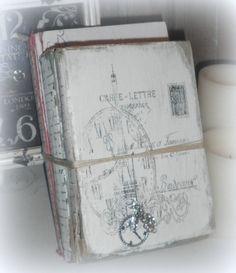 Shabby Old Book Decor French Script Decor by SecretTreasuresFound