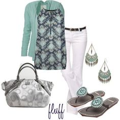I like the pattern & color of the top. The sweater coordinates nicely. It looks great with the white pants. The shoes and accessories all really work great with the outfit. Mode Outfits, Casual Outfits, Summer Outfits, Fashion Outfits, Green Outfits, Fall Outfits, Fashion Ideas, Fashion Trends, Fashion Tips