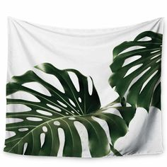 Ann Barnes Minimalist Monstera Tapestry and Wall Hanging