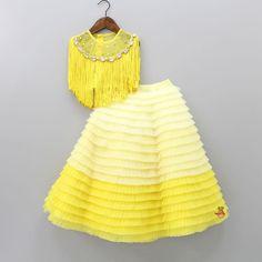Yellow Top, Shades Of Yellow, Colour Shades, Toddler Girl Dresses, Girls Dresses, Lehenga Skirt, Kids Lehenga, Dupion Silk, Babies Clothes
