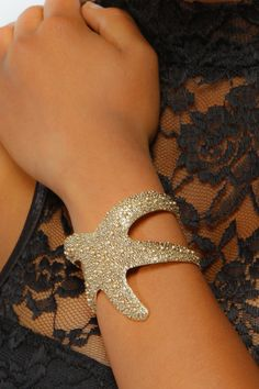 Textured Starfish Adjustable Bangle