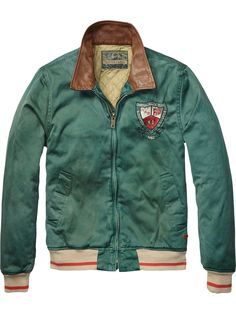 Baseball Jacket With Leather Collar > Mens Clothing > Jackets at Scotch & Soda