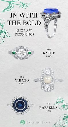 Characterized by chic geometric lines, one-of-a-kind Art Deco rings offer eye-catching vintage beauty.