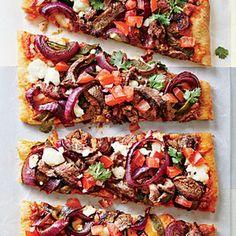 Carne Asada Pizza Recipe Main Dishes with pizza doughs, poblano peppers, flank steak, ground cumin, chipotle chile powder, salt, cooking spray, purple onion, marinara sauce, adobo sauce, cornmeal, part-skim mozzarella cheese, cheddar cheese, queso fresco, tomatoes, fresh lime juice, purple onion, cilantro sprigs