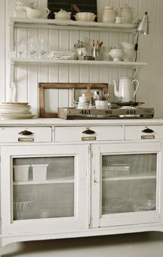chabby chic looks like buffet and hutch by comick. Yes! Then put a barnyard accent and a splash of yellow <3