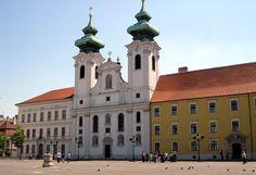 Széchenyi Square (Széchenyi tér) with Saint Ignace Church in Győr, Hungary