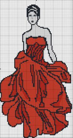 femme - woman - point de croix - cross stitch - Blog : http://broderiemimie44.canalblog.com/