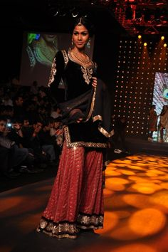 Velvet tunic with sharara... not traditional, but I love it..maybe for a Sangeet?( Shyamal and Bhumika )