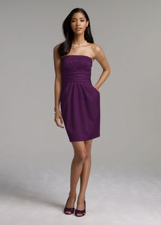 David's Bridal plum bridesmaid dress with pockets! This would definitely have to be Kristina's @kmsaracione