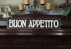 Buon Appetito Italian Kitchen Food Italy Sign Plaque Country Chic Rustic Farmhouse Wooden Hand Painted You Pick Color Gallery Wall Art