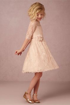 blush lace flower girl dress | Annie Dress in blush by Jenny Yoo for BHLDN