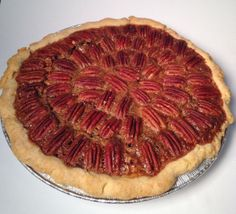 Chocolate pecan pie with our homemade crust.
