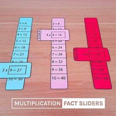 Multiplication-fact-sliders-times-tables-math-learning-aid MATHEMATIC HISTORY Mathematics is among the oldest sciences in human history. Teaching Aids, Teaching Math, Math Tables, Math Multiplication, Math For Kids, Kids Fun, Help Kids, Fun Math, 3rd Grade Math