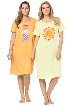 db56545e27 Dreams Co Womens Plus Size 2Pack Sleepshirt Coffee Sun Print3X4X     Click  image for