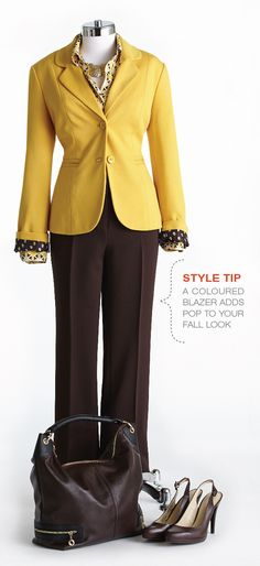 """Cleo Fall Style with Lynn Spence: Style Tip """"A coloured blazer adds pop to your Fall look. Fall Looks, Colored Blazer, Plus Size Women, Style Me, How To Look Better, Autumn Fashion, Dress Up, Pop, Lady"""