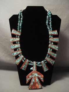 Advanced Inlay Work Vintage S Turquoise Ilver Necklace Santo Domingo