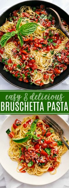 The BEST EVER Bruschetta Pasta! Bruschetta Pasta is fresh, light, and filled with flavor via chelseasmessyapron.com #pasta #bruschetta #easy #quick #dinner #fast #italian #basil #tomatoes #kidfriendly #garden #produce #parmesan #cheese #healthy #vegetarian
