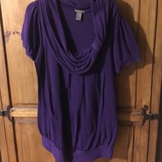 Purple cowl neck sweater tunic Size 2x purple shirt sleeves sweater. Cute cowl detail on neckline and banded bottom. SoSick Tops Tunics